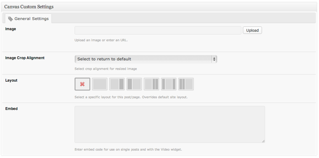 "The ""Canvas Custom Settings"" meta box, as seen when adding or editing a blog post."