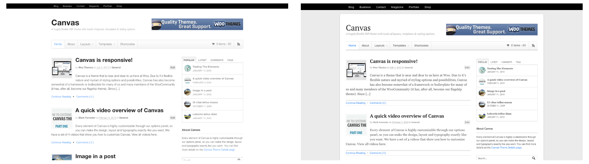 The default Canvas layout, alongside the boxed layout with a box shadow and background colour set.