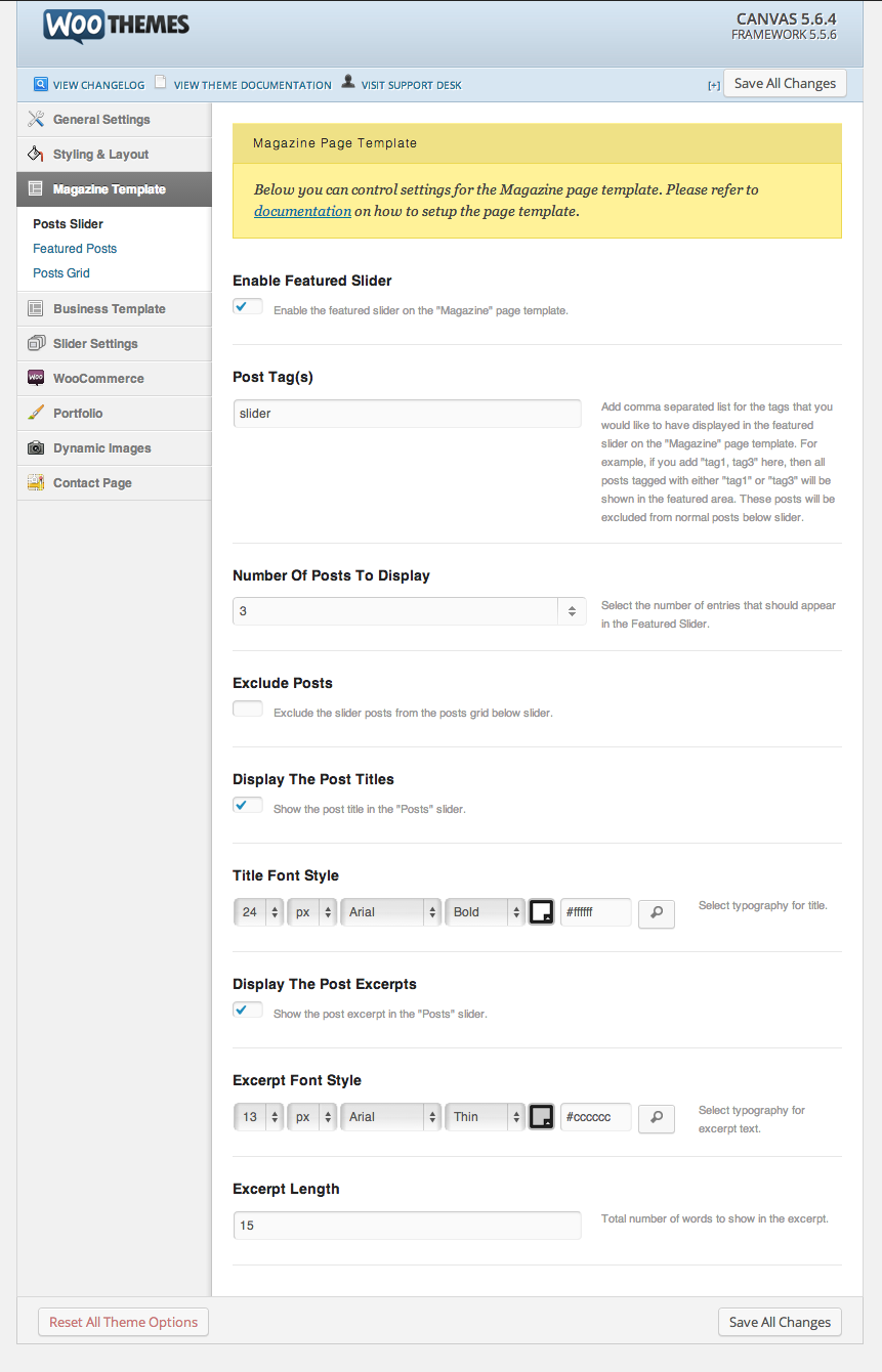 "Setting up the featured slider for the ""Magazine"" page template."