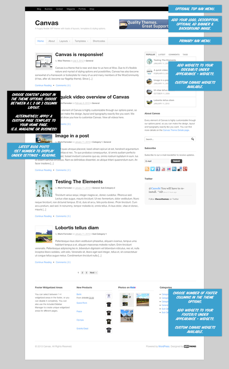 Canvas homepage overview