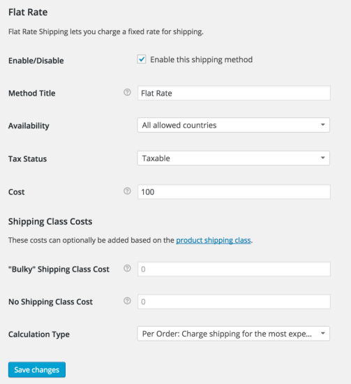Flat Rate Shipping Settings Shipping Classes