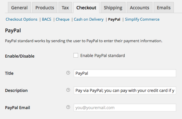 PayPal Standard WooCommerce Email Field