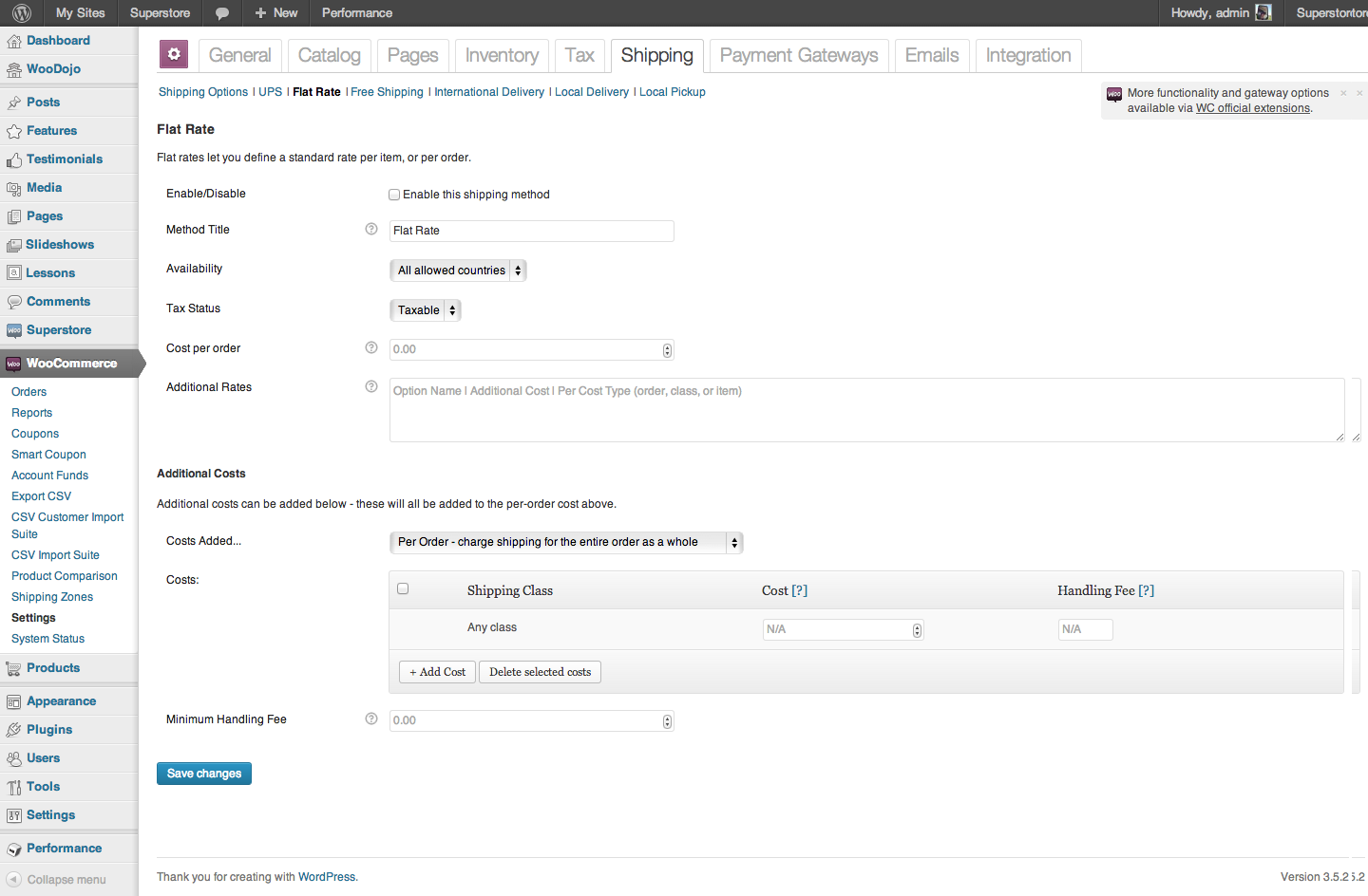 WooCommerce-FlatRateShipping- Settings