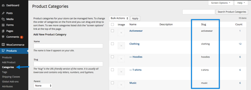 Go to: WooCommerce > Products > Categories to find the slug column.