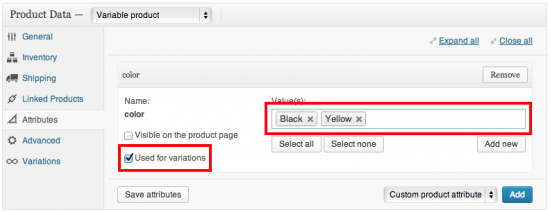 Add attributes and ensure the variations checkbox is checked
