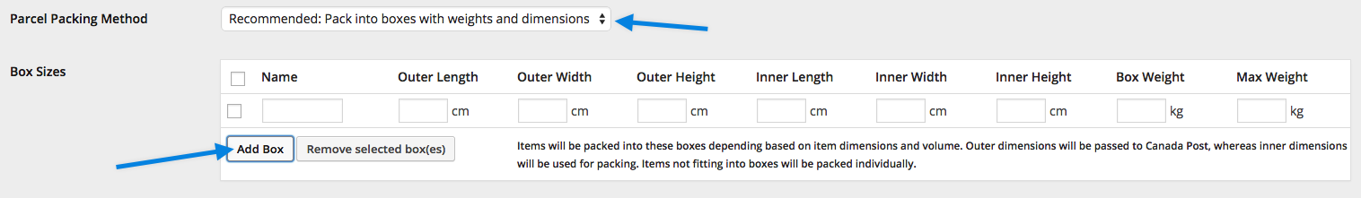 Box Settings