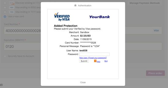 WooCommerce Braintree Visa 3D Secure