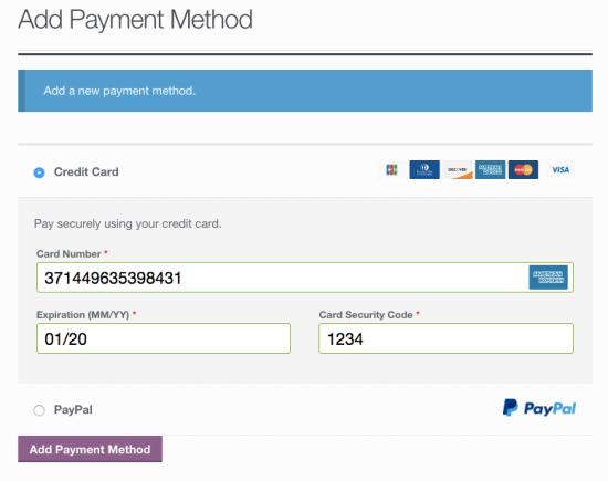 WooCommerce Braintree add credit card