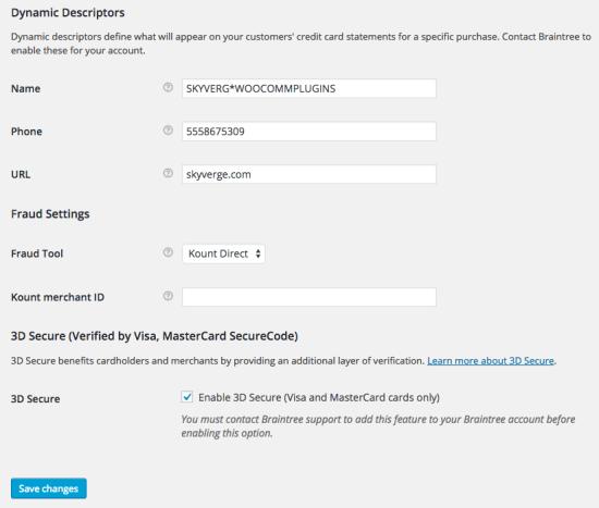 WooCommerce Braintree Credit Card Settings 4