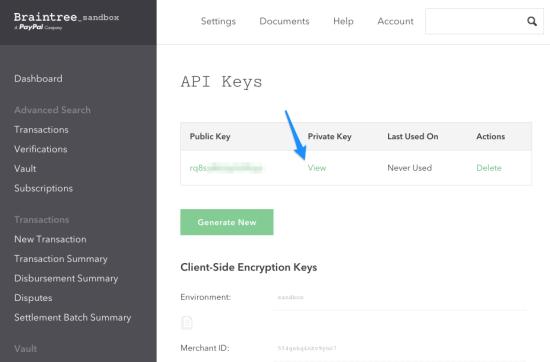 WooCommerce Braintree Get API Keys 3