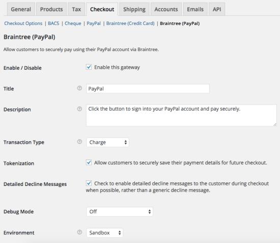 WooCommerce Braintree PayPal Settings 1