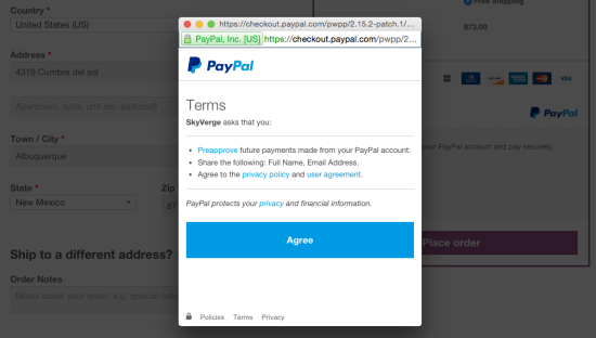 WooCommerce Braintree PayPal Vault Authorization