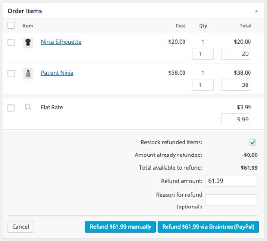 WooCommerce Braintree PayPal refund