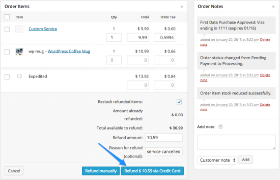 WooCommerce First Data process refund