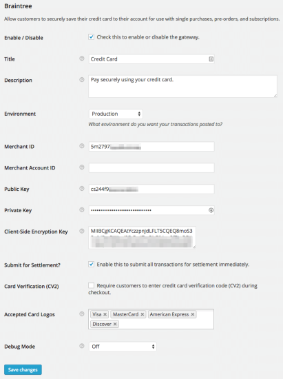 WooCommerce Braintree settings