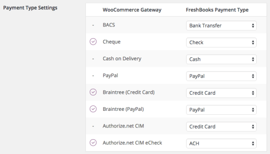 WooCommerce FreshBooks payment method map