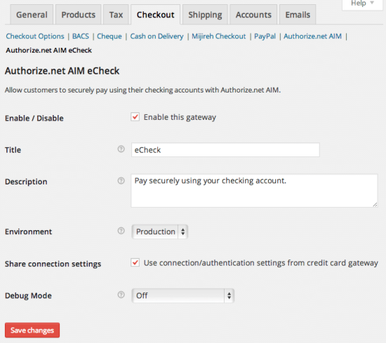 WooCommerce Authorize.net AIM Payment Gateway Integration eChecks Settings