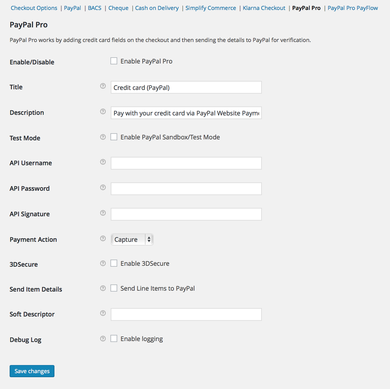paypal pro settings