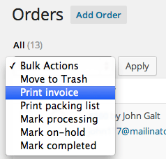 WooCommerce PIP Bulk Print Invoices or Packing Lists