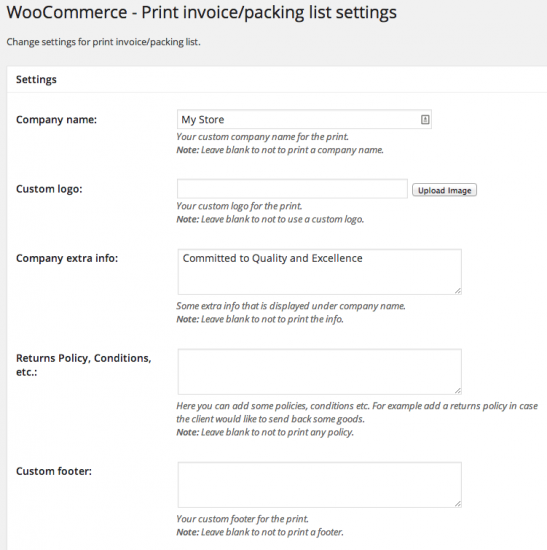WooCommerce Print Invoices and Packing Lists Settings