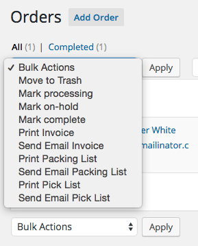 WooCommerce Print Invoices / Packing Lists Bulk Actions