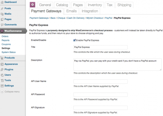 WooCommerce PayPal Express Payment Gateway Admin Settings