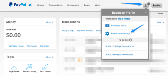 WooCommerce paypal express View PayPal Profile