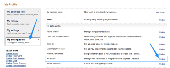 WooCommerce paypal express view api credentials