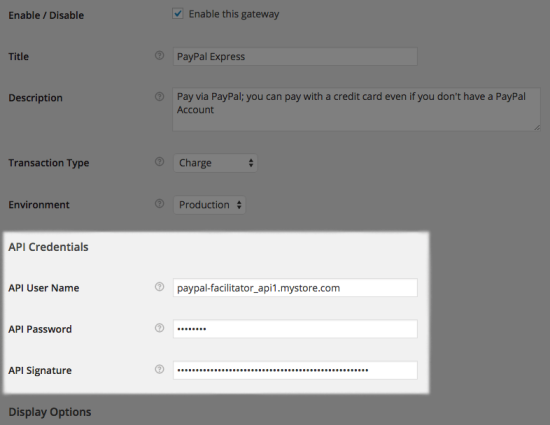 WooCommerce PayPal Express API settings