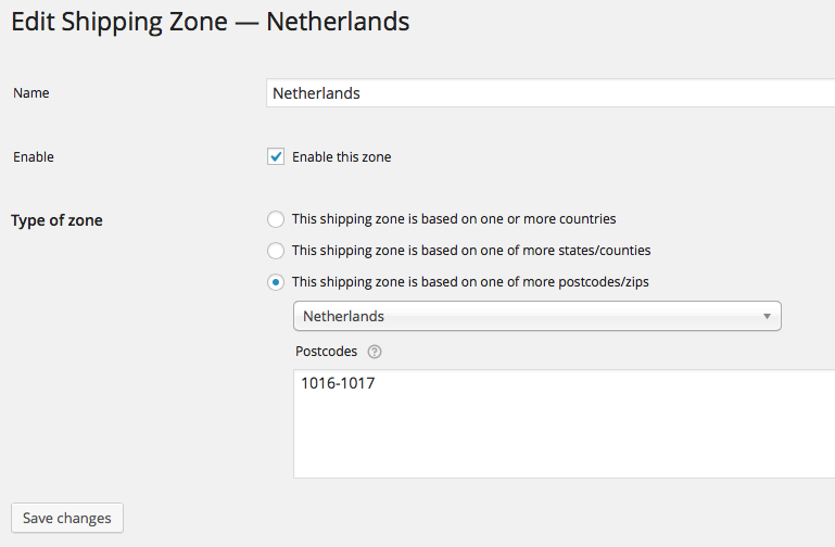 Edit Table Rate Shipping Zone