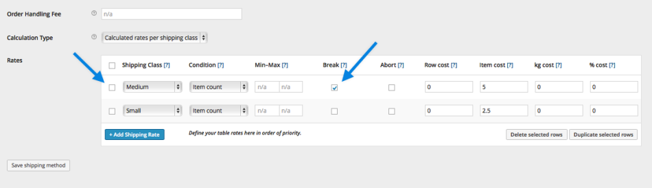 Table Rate Merging Shipping Example 1