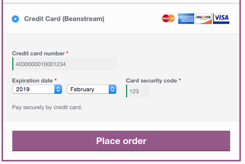 WooCommerce Beanstream Checkout Form