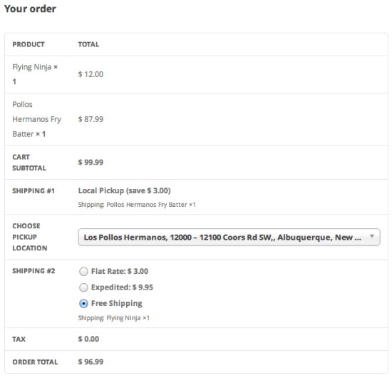 WooCommerce Shipping Local Pickup Multiple Shipping Method Support