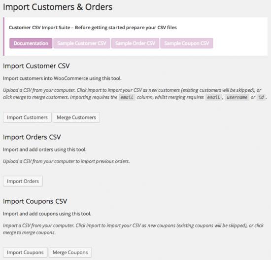WooCommerce Customer / Order / Coupon CSV Import Main Import Screen