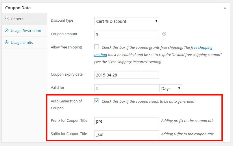 Coupon code with auto generated code and prefix suffix