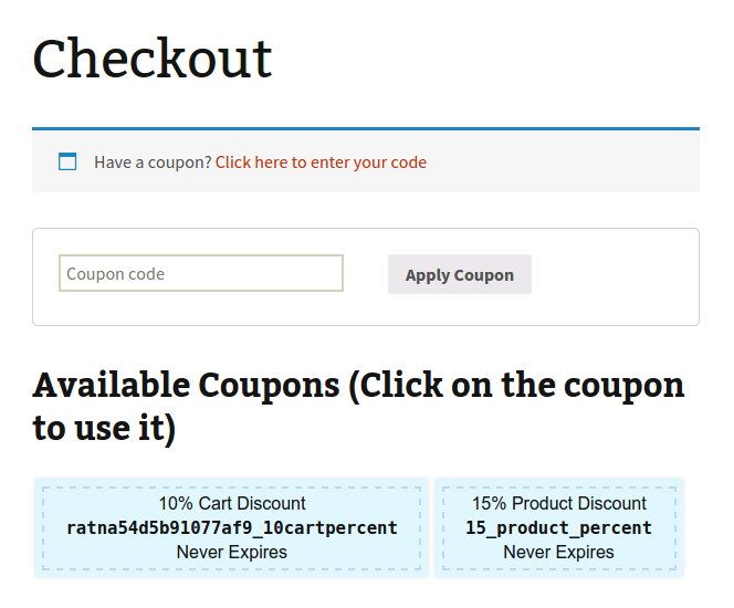 Coupons Available to Current User Show on Checkout too