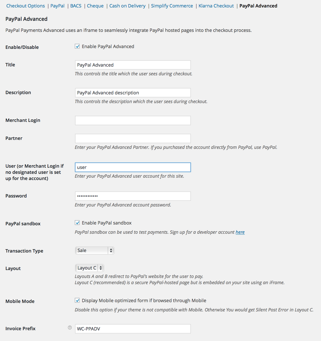 paypal advanced settings