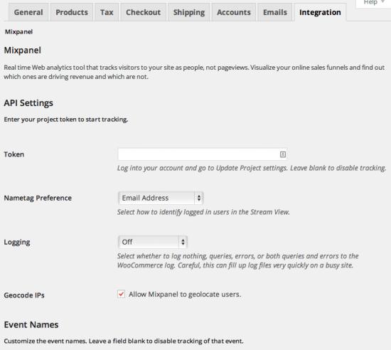 WooCommerce Mixpanel Admin Settings