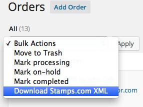 WooCommerce stamps.com XML export order bulk export