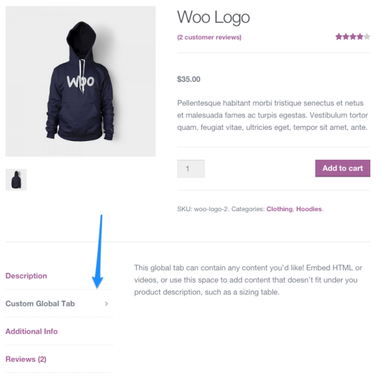 WooCommerce Tab Manager frontend
