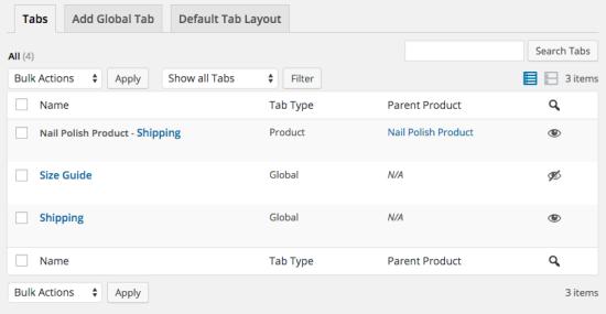 WooCommerce Tab Manager tab list
