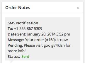 WooCommerce Twilio SMS Notification Admin Order Note