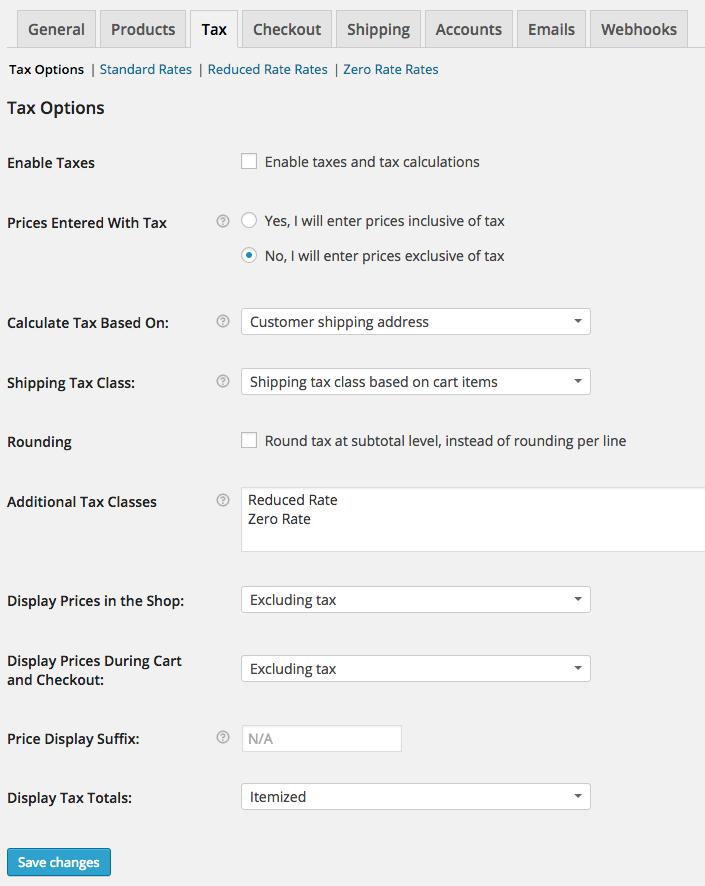 WooCommerce Tax Settings