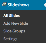 Slideshows Menu - WooSlider Installed