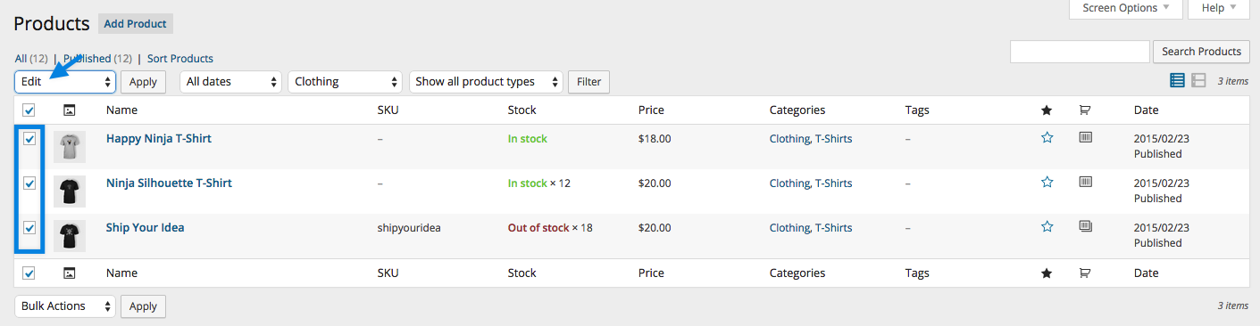 WooCommerce Shipping Classes - Bulk Product Edit