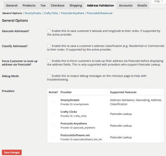 WooCommerce Postcode / Address Validation Admin Settings