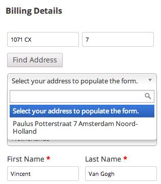 WooCommerce address validation NL postcode lookup