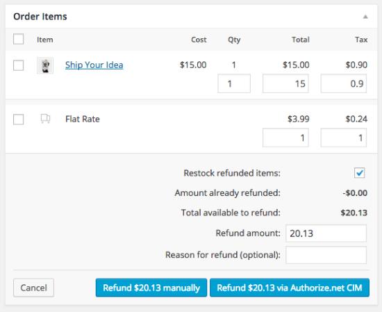 WooCommerce Authorize.net CIM: Refund support