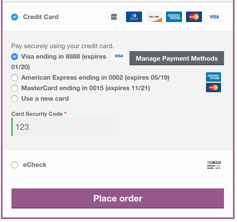 WooCommerce Authorize.net CIM saved card checkout