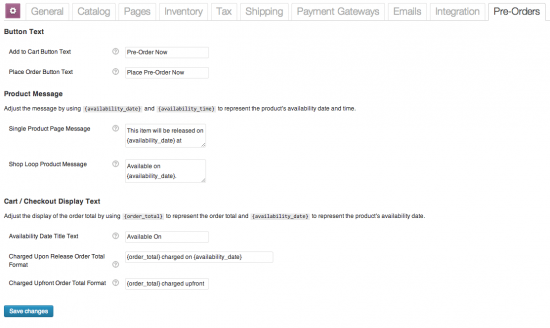 WooCommerce Pre-Orders Settings